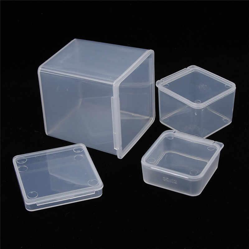 Venda quente Da Arte Do Prego Caixa de Armazenamento Quadrado Pequeno De Plástico Transparente Transparente Jóias Display Case Organizador Titular Frete Grátis
