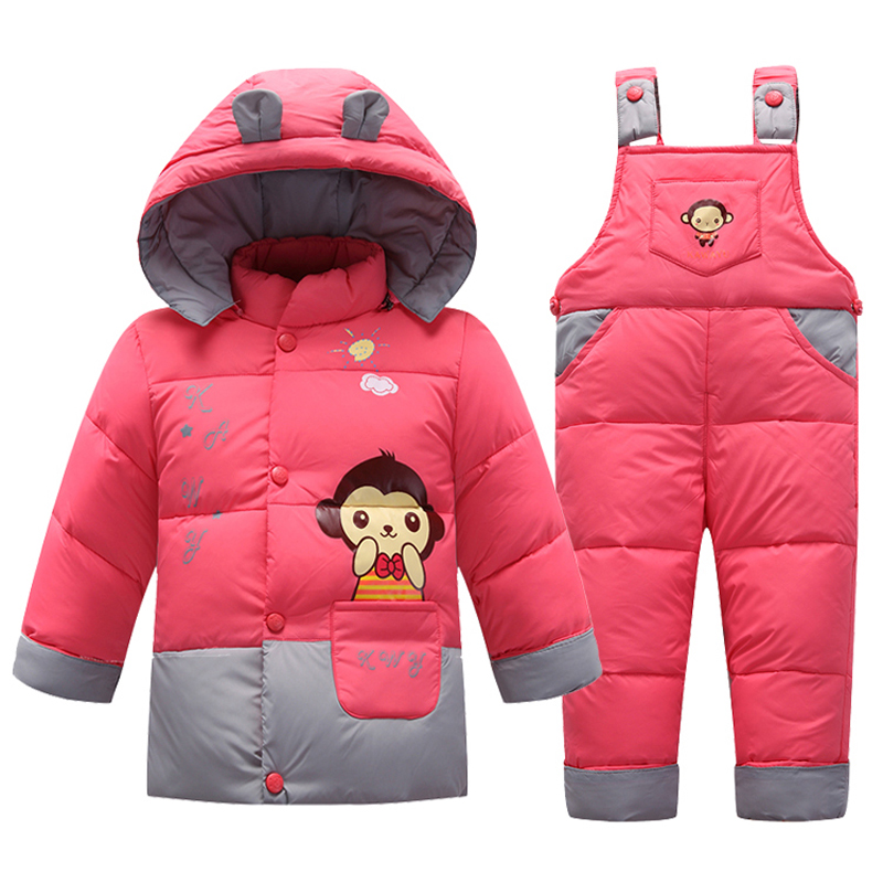 Winter Baby Boys Girls Clothing Sets 2017 Children 90 White Duck Down Warm Coats Jackets Jumpsuit