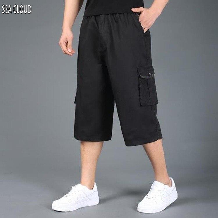 Free shipping Pocket summer plus size shorts xxl 4xl 5xl 6xl 7XL cotton casual shorts khaki elastic waist short trousers hiphop