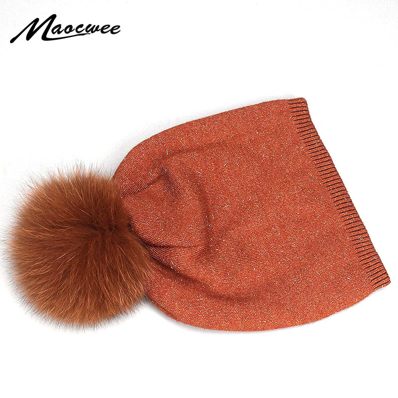 Natural Dyeing Fox Fur Pom Poms Hat Female Elegant Wool Knitted 2018 Winter Brand New Women's Gold Wire Hats   Skullies     Beanies