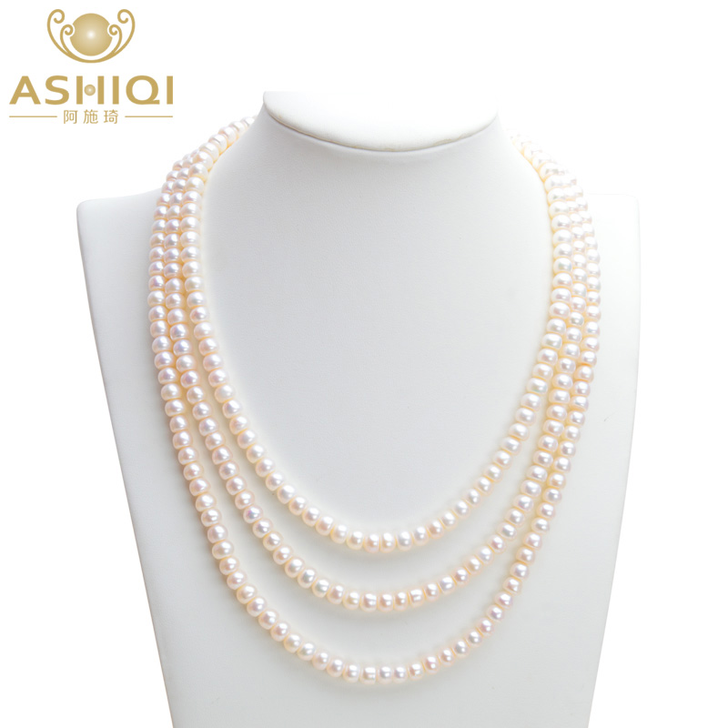 ASHIQI Natural Freshwater pearl Necklaces, 3 strand pearl necklace for women , 7-8mm Pearl Jewelry wholesale good natural 7 8mm aaa pearl necklace jewelry natural white freshwater pearl collares anime 925 silver