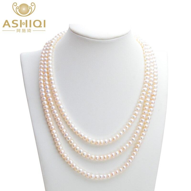 ASHIQI colliers de perles d'eau douce naturelles, collier de perles 3 brins pour femmes, bijoux de perles 7-8mm