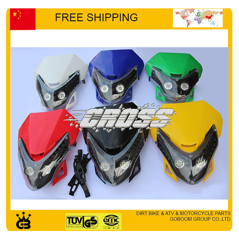 free shipping LED Polisport MX motocross 50cc 110cc 125cc 150cc pit monkey dirt bike enduro headlight assembly front head light djebel250 front headlight guard motorcycle head light lamp protector bracket shelf for suzuki djebel 250 motocross pit dirt bike