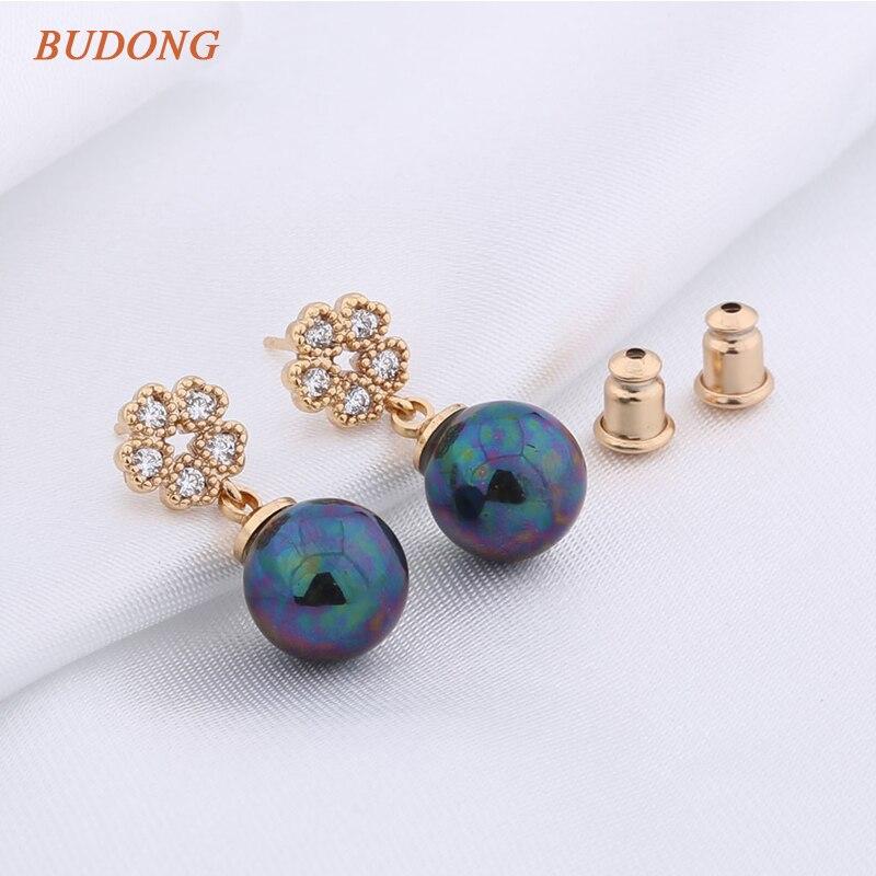 31e6f6eba9fb Budong moda Pendientes para las mujeres plata oro color Stud cinco hojas  boda imitación perla cristal gota joyería de la boda xue512
