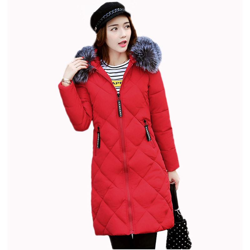 Winter coat women 2017 Fashion Cotton-Padded Coats With fur Collar hooded Female Winter jacket women Long Parka Outerwear RE0097 winter jacket women 2017 fashion slim long cotton padded hooded jacket parka female wadded jacket outerwear winter coat women