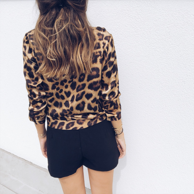 Women's Clothing Sexy Deep V-neck Leopard Print Blouse Long Sleeve Fashion Womens Tops And Blouses Oversize Loose Top Shirt
