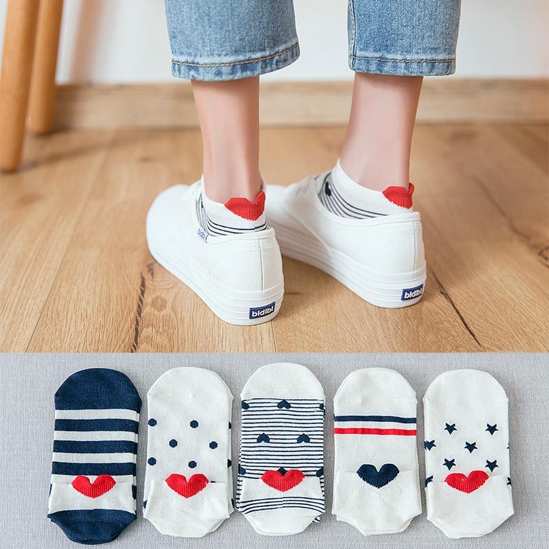 5 Pairs Lot Cotton Women Socks Female Casual Boat 3D Sock Cartoon Harajuku Unicron Cat Cute Invisiable Slippers Girl Ankle Socks