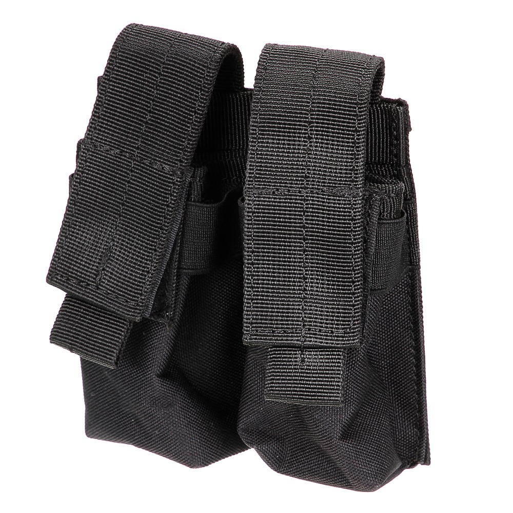 Hot selling Tactical Molle Double Cartridge black Clip Bag Pistol Magazine Mag Pouch Carry Bag