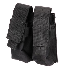 Hot selling !!!Tactical Molle Double Cartridge black Clip Bag Pistol Magazine Mag Pouch Carry Bag