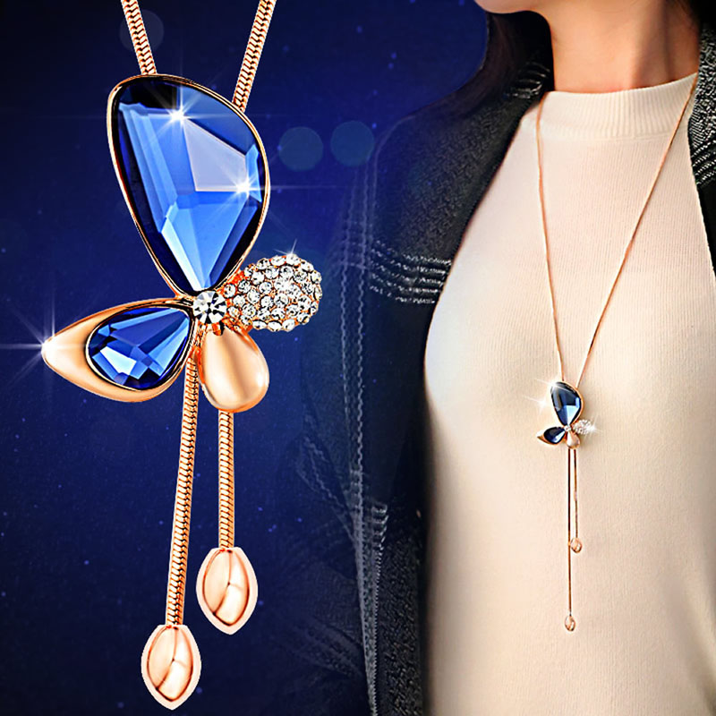 Fashion Women Bowknot Pendant Rhinestone Butterfly with Long Sweater Chain Necklace