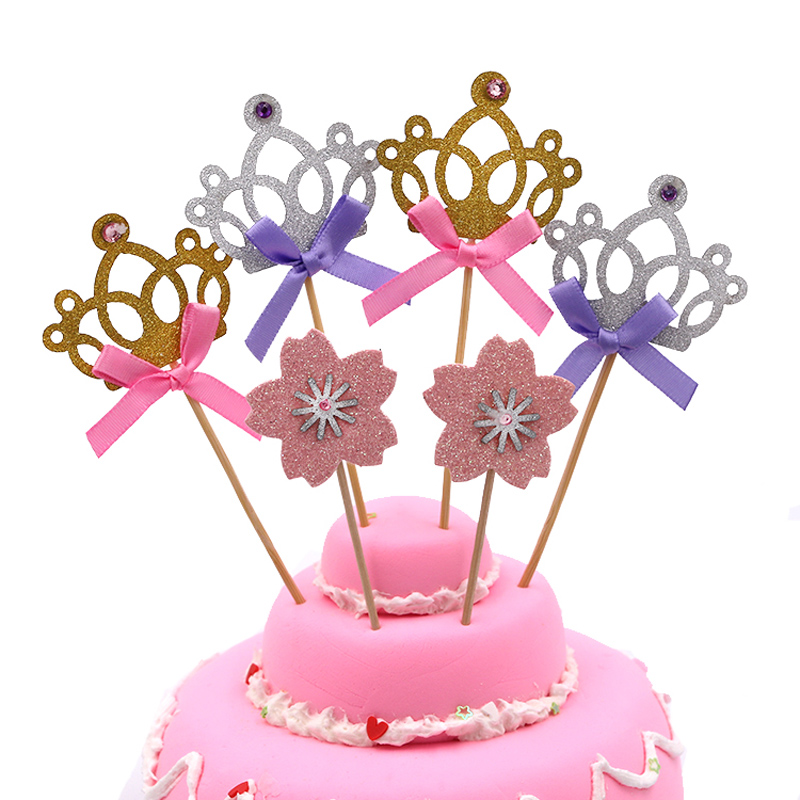 10 pcs/lot crystal crown cake topper birthday cake decoration baby shower kids birthday party wedding favor decor supplies