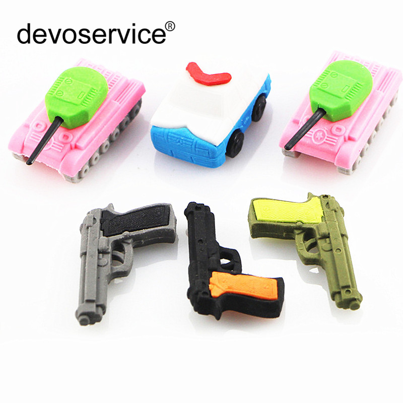 6PCS/Set Novelty Fake Gun Tanks Rubber Eraser For Boys Kids Creative Kawaii Stationery School Supplies Papelaria Gifts