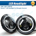 1x Pair Round 7'' H4 Hi/low Beam Round LED Headlights DRL Halo Angel Eyes 40w H4 Headlamp Led Car Headlight For Wrangler Hummer