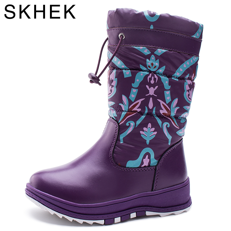 SKHEK Boy Girl Flat With Rubber Boots New Winter Children Snow Boots Waterproof Anti-skid Children Warm Shoes 1765
