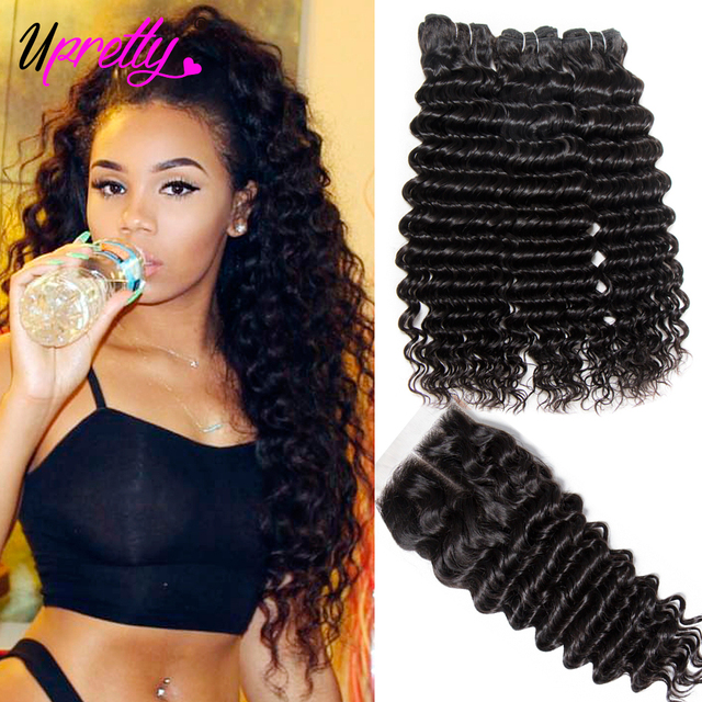 Upretty Hair Brazilian Hair Weave Bundles With Closure 3 Bundle With Lace Closure Remy Human Hair Deep Wave Bundles With Closure