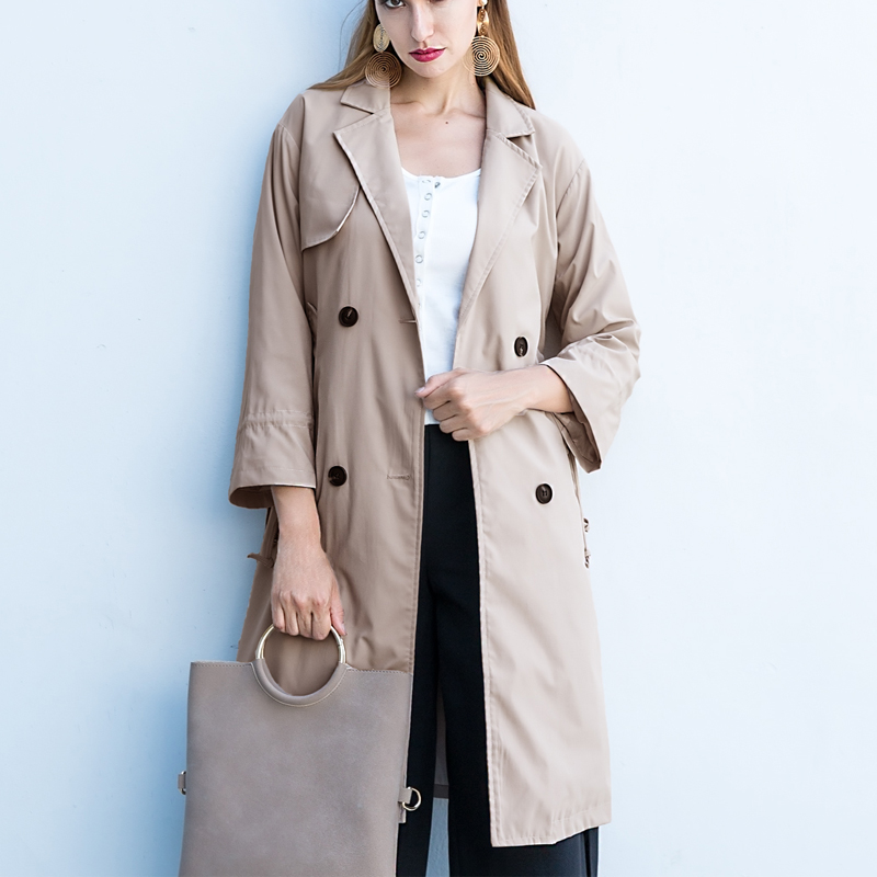 Plus Size 2019 Autumn Women Classic Double Breasted   Trench   Coat Belt Tiered Casual Loose Office Female   Trench   Business Outerwear