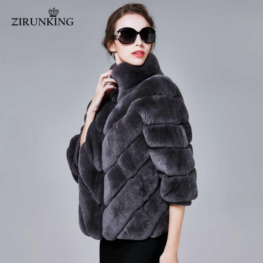 9f589408655 Zirunking Для женщин Настоящее Рекс кролика пальто женские рукав