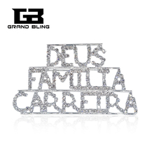 Crystal Brooch Word Pin DEUS FAMILIA CARREIRA  Luxuery Handmade Jewelry FREE SHIPPING