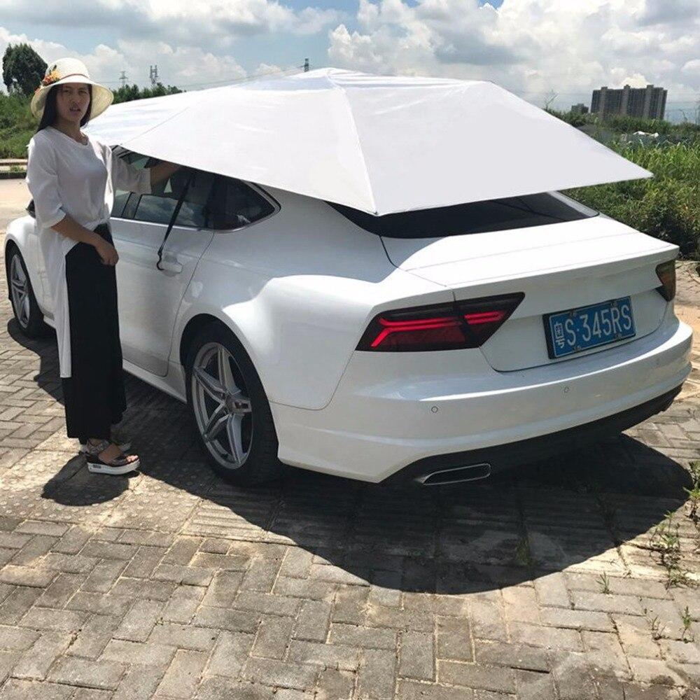 Extérieur imperméable à l'eau plié Portable couverture d'auvent de voiture demi automatique auvent tente bâche de voiture Anti-UV abri solaire tente de toit de voiture