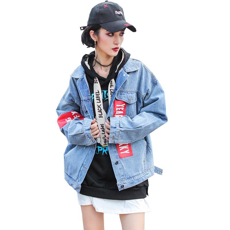 2018 printemps automne nouvelle mode femmes européenne américaine Hip Hop lâche rouge brassard Clown imprimer Patch Denim veste femme CSS005