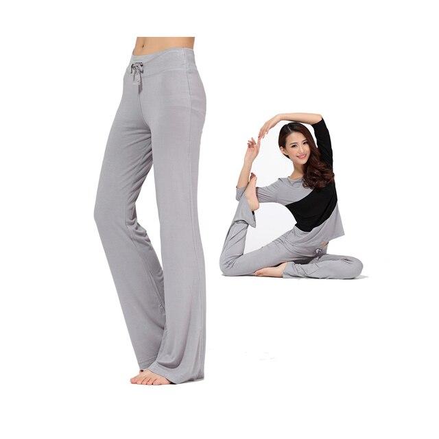 e076630c78fa94 YEAPOOK Women Modal Spandex Athletic Yoga Pants Wide Leg Yoga Leggings with  Elastic Ribbon Dance and Latin Dance Home Pants