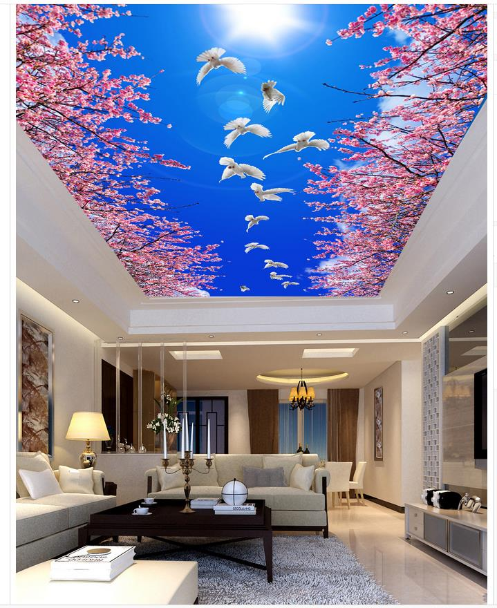 Blue Sky Forest Cherry Ceiling 3d Wallpaper Living Room Ceilings Mural Paintings Home Decoration