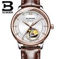 Ультра-тонкие японские 90S5 автоматические Movemt Tourbillon Швейцария Бингер женские часы сапфировые механические наручные часы B-1180W