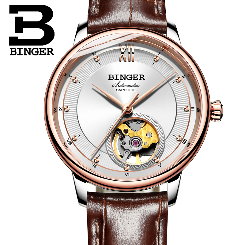 Switzerland BINGER Women's watches Ultra-thin Japan 90S5 Automatic Movemt Tourbillon sapphire Mechanical Wristwatches B-1180W