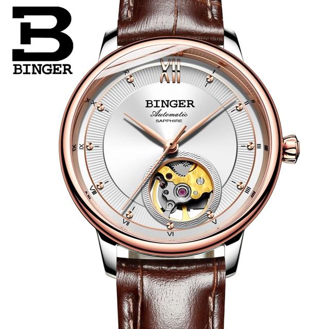 Switzerland BINGER Women's watches Ultra-thin Japan 90S5 Automatic Movemt Tourbillon sapphire Mechanical Wristwatches B-1180W