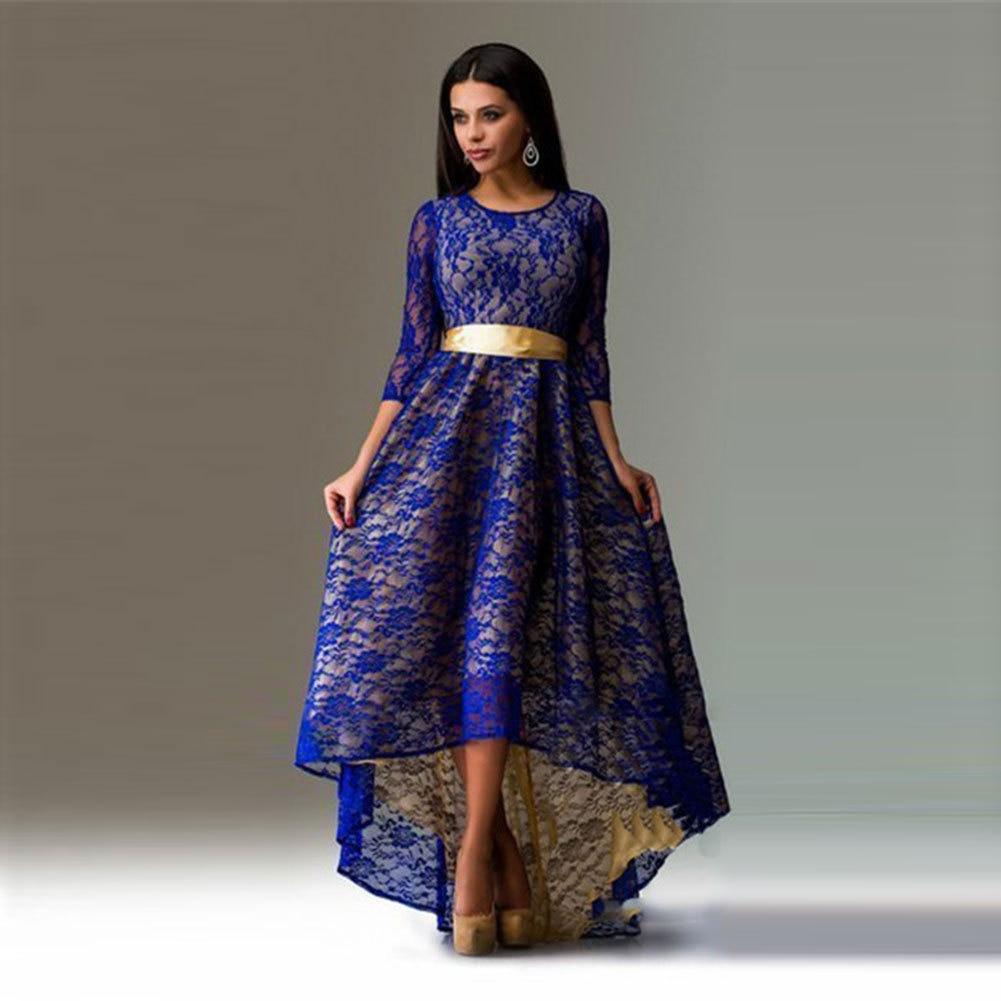 5b53a95eb345a Maxi Long Dress Female Summer Elegant Plus Size Dresses for Women 2018 Lace  Half Sleeve Floral ...