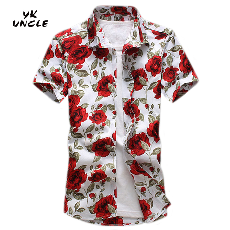 YK UNCLE Brand 2017 Summer New Fashion Men Shirt Song Sleeve Floral Clothing Good Quality Soft Shirt Men Casual Male Shirt M-5XL