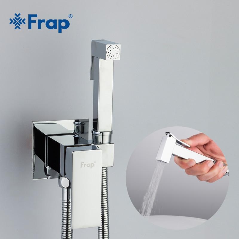 Frap Bidet Faucet Brass Shower Tap Washer Mixer Muslim Ducha Higienica Cold & Hot Water Mixer Crane Square Shower Spray F7506