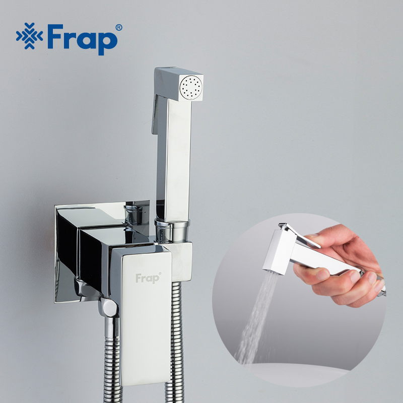 Frap Bidet Faucet Brass Shower Tap Washer Mixer Muslim Ducha Higienica Cold & Hot Water Mixer Crane Square Shower Spray F7506