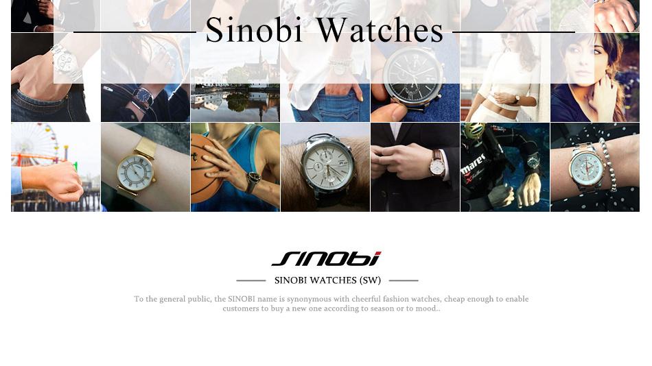 SINOBI Men Quartz Watch Luxury Top Brand Fashion Mesh Delicate Ultra-thin Business Watch Full Stainless Steel Male Wrist Watches 20