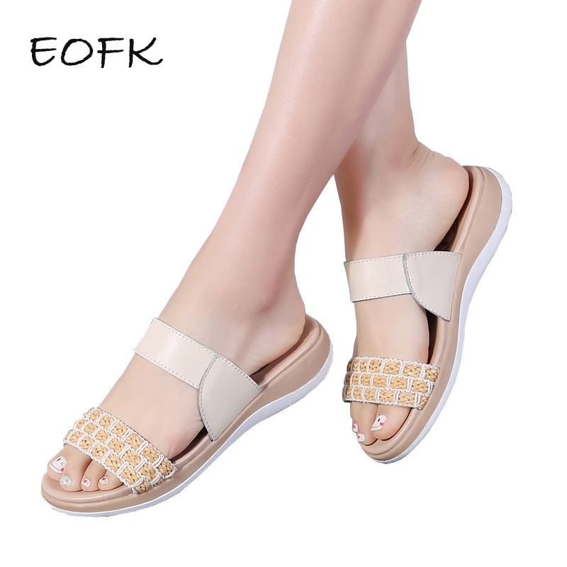 EOFK Women Leather Slippers Flat Women Slides High Quality Woven Decoration Women Shoes Elegant Comforty Outside Ladies Slipper comforty 35 blue