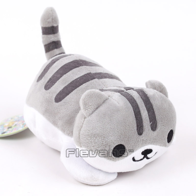 купить Kawaii Neko Atsume Cat Cushion Pillow Plush Toys Soft Stuffed Animal Dolls grey/yellow по цене 382.15 рублей