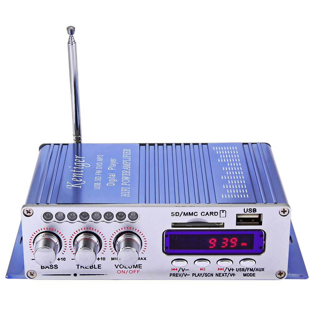 Hi-Fi Digital Auto Audio Stereo Power Amplifier Radio MP3 Speaker LED 2 Channel Digital Display Power Player Support USB SD FM