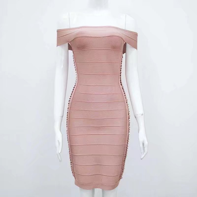 wholesale New style dress Pink and yellow Hollow Out Slash neck Stretch tight Mini Cocktail party bandage dress (H1623)