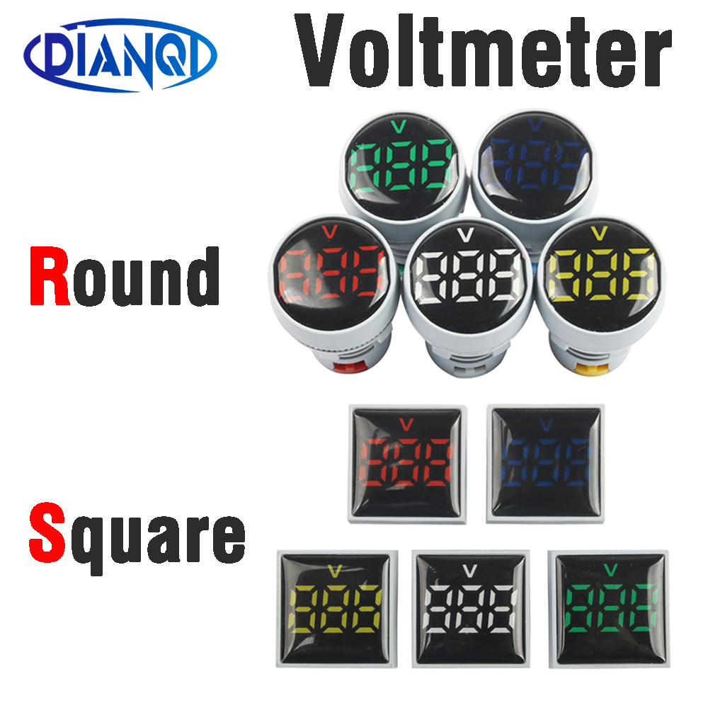 22mm AC20-500V Round Or Square LED Voltmeter Voltage Meter Indicator Pilot Light Red Yellow Green Blue White Digital Ammeter