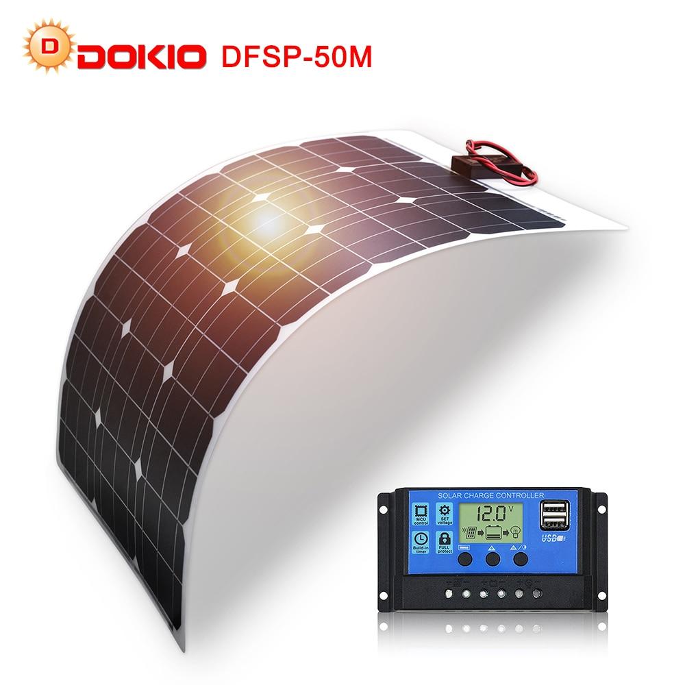 DOKIO Brand Solar Battery 50W Flexible Solar Panel 50W 12V 24v Controller 10A Solar System Kits