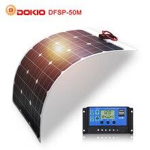 DOKIO batería Solar Flexible para pesca, barco, Camping y coche, 50W, 12V, 24v, kit de Sistema Solar 10A