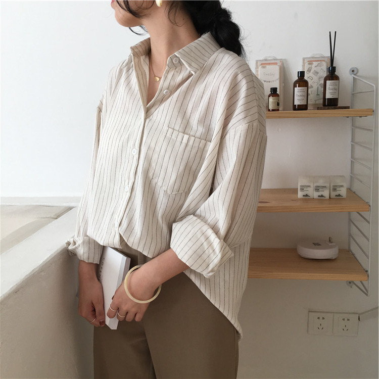 19 Mazefeng Spring Autumn Female Shirts Women Striped Shirts Office Lady Style Women Shirts Solid Fashion Long Sleeves 6