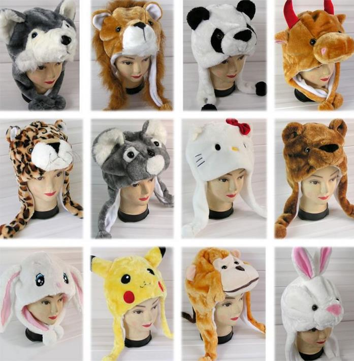e7fba6f14d5 Cosplay stuffed cartoon hat adults kids children plush animal hat ...