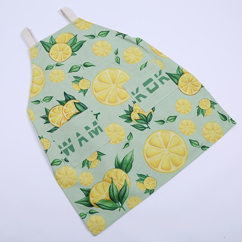 Fashion Aprons Cooking Apron Kit Bib Green Leaves and Orange Pattern Housework Kitchen Sleeveless Aprons For Women And Men