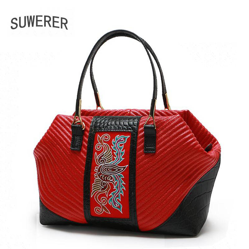 2018 New Women Genuine Leather bag luxury handbags women bags designer Cowhide women bags handbags fashion Hand embroidery qiaobao women general genuine leather handbags tide europe fashion first layer of cowhide women bag hand diagonal cross package