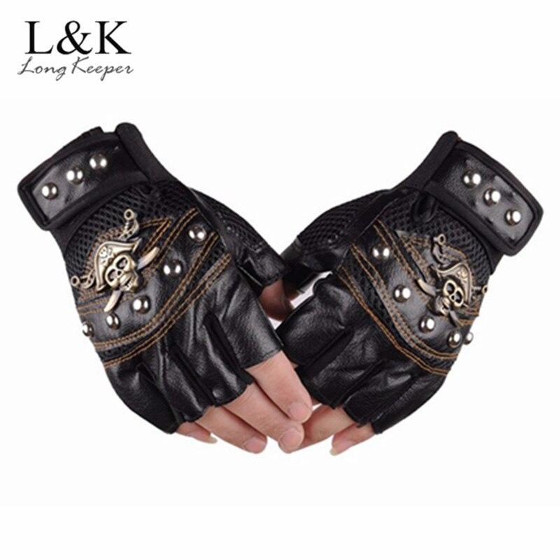 Lange Keeper Schädel Niet PU Leder Finger Handschuhe Männer Frauen Mode Hip Hop frauen Gym Handschuhe Halb Finger Männer der Handschuhe