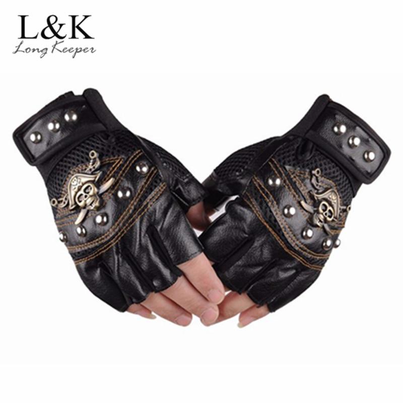 Long Keeper Skulls Rivet PU Leather Fingerless Gloves Men Women Fashion Hip Hop Women's Gym Gloves Half Finger Men's Gloves