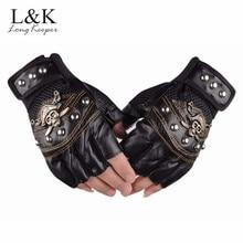 цена на Long Keeper Skulls Rivet PU Leather Fingerless Gloves Men Women Fashion Hip Hop Women's Gym Gloves Half Finger Men's Gloves