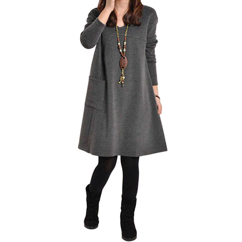 be40de3a86a 2018 Autumn Dress Women Winter Long Sleeve Pocket Dress Solid O Neck Casual  Loose Party Dresses