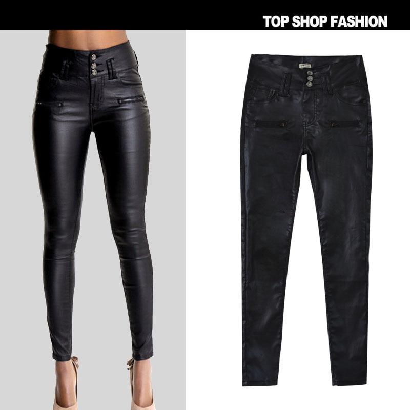 Nouveau Imitation D'explosion Cuir Cintrée Pu Pantalon En Slim Aliexpress Couture Beige 3 Jeans Modèles Bouton Chaude 1rP1nqx